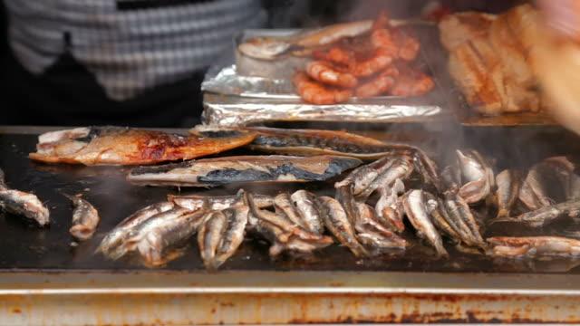 Making fish sandwich balik ekmek in Istanbul