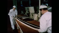 MONTAGE Making Humbugs candy in factory in United Kingdom