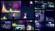 Making music. Hip hop dancer Split screen.