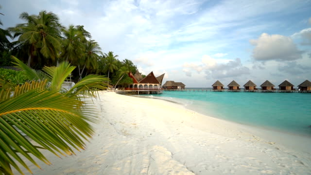 Maldives island resort with water bungalow