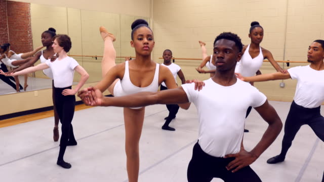 MS Male and female ballet partners in rehearsal in dance studio