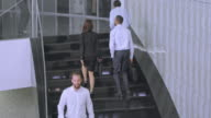 TS Male and female business coworkers walking up the staircase