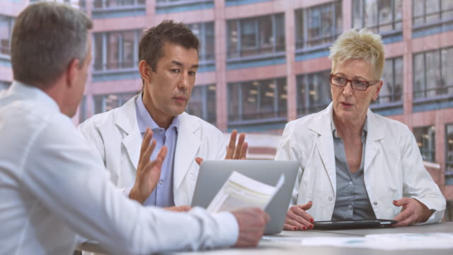 LD Male and female doctor having a meeting with the project manager
