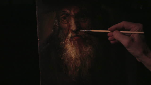 Male artist's hand sketching renaissance picture 4k.
