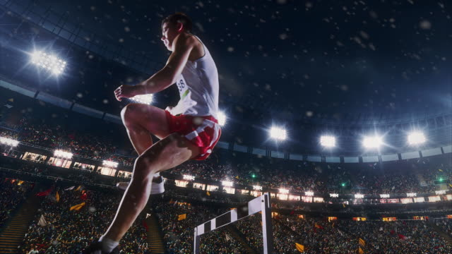 Male athlete hurdle