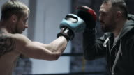 Male Boxer sparring with his trainer