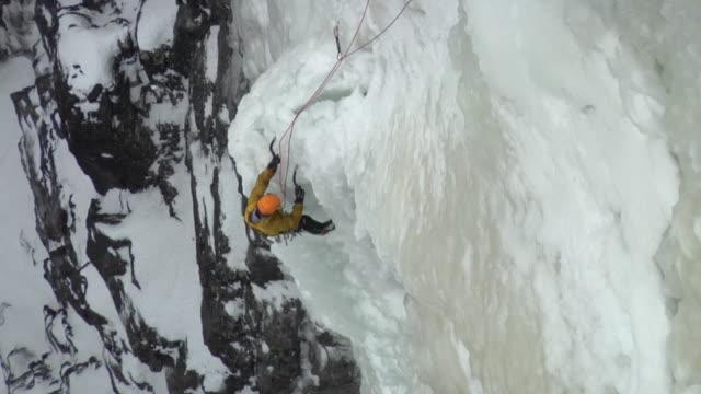 WS HA Male climber climbing ice, Eidfjord, Hordaland, Norway