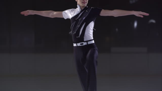SLO MO TU Male figure skater performing back upright spin