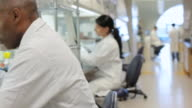 MS PAN Male lab technician using micro-pipette under fume hood / Vancouver, BC, Canada