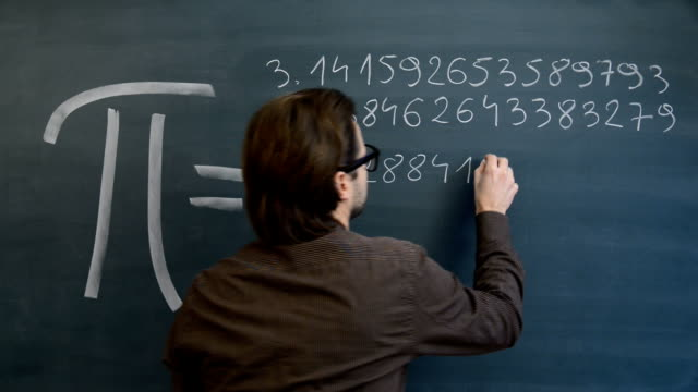 Male teacher or student hand writing Pi numbers