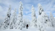 Male walker wearing snow shoes Riisitunturi NP tykky Lapland Finland
