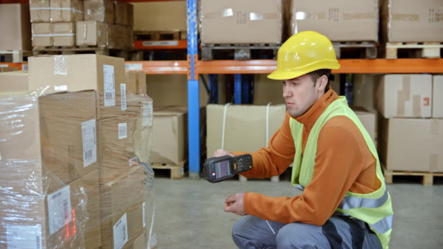 Male warehouse employee scanning the packages on a pallet in the warehouse