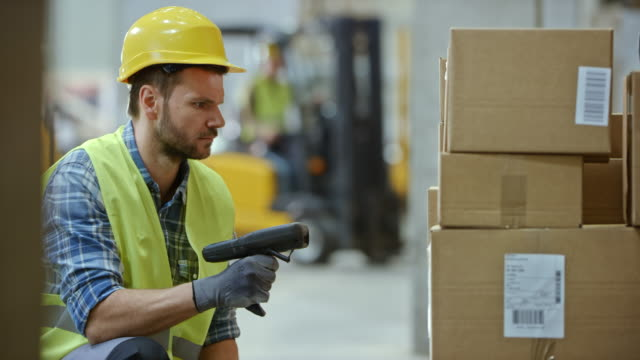 Male warehouse employee scanning the packages stacked on a pallet