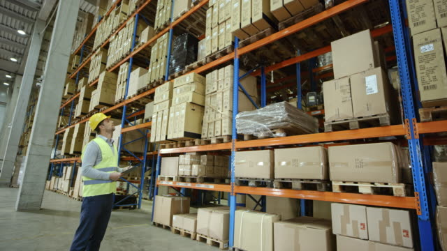 CS Male warehouse supervisor standing in a full warehouse and checking the pallets