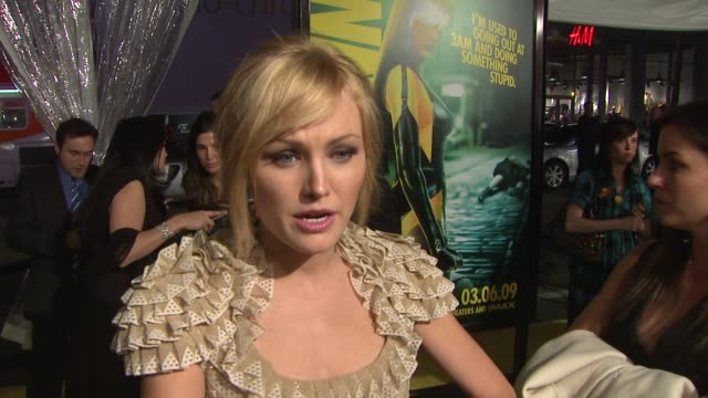 Malin Akerman on the latex costume her character pressure of fan expectation at the 'Watchmen' Premiere at Los Angeles CA