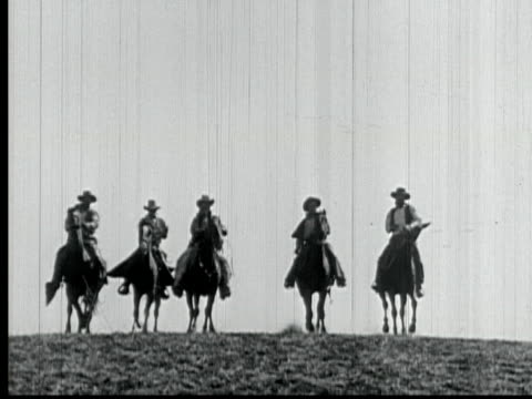 1925 B/W MONTAGE MS WS LA HA Man and four other riders herding cattle on plains / Santa Clarita, California, USA