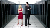 WS Man and woman arguing in server room