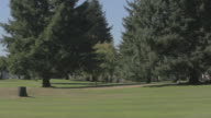 Man and woman play golf in distance