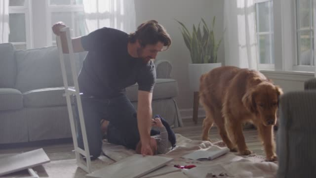 Man assembles flat pack furniture in home living room as baby rolls around on blanket and golden retriever gets down off couch.