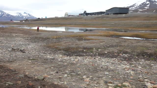 Man being attacked by Arctic terns as he walks through nesting seabirds at Laguna Bird Area nearby Longyearbyen airport, Svalbard archipelago