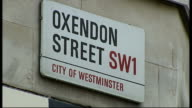 Man critical following assault near Piccadilly Circus ENGLAND London EXT Close shot street sign 'Oxendon Street' GV Exterior of 'The Comedy Store'