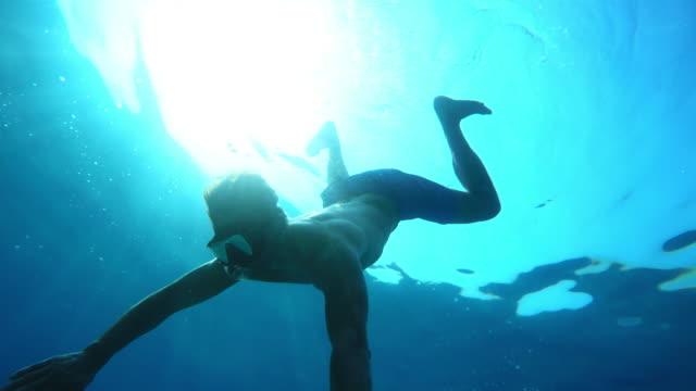 POV Man diving to the sea bottom
