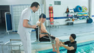 Man doing physical therapy in the water