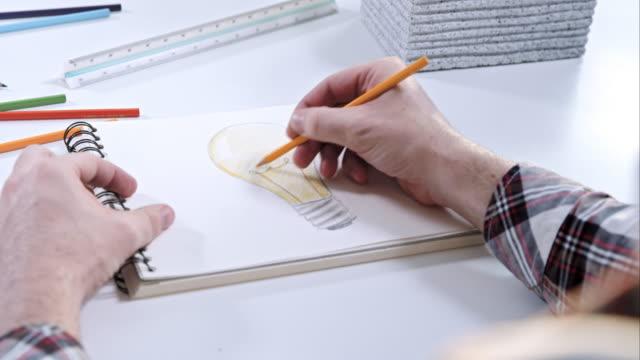 Man tekening van een gloeilamp