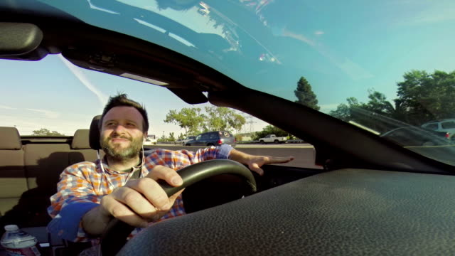 WS Man Driving Convertible In Santa Monica