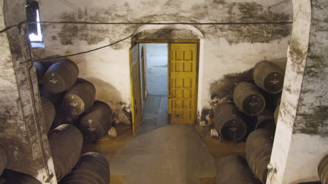 WS Man entering wine cellar / Sanlucar de Barrameda, Andalusia, Spain