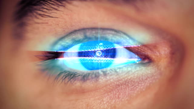man eye looking on digital virtual screen