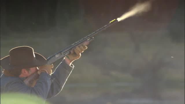 Man fires shotgun, Yellowstone, USA