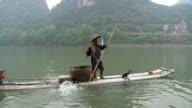 MS Man fishing with birds / Close to Li River, Guangxi, China
