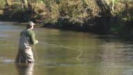MS Man fly fishing at down stream / Devon, England, United Kingdom