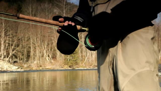 CU Man fly fishing in Cheakamus river, mid section, Squamish, British Columbia, Canada