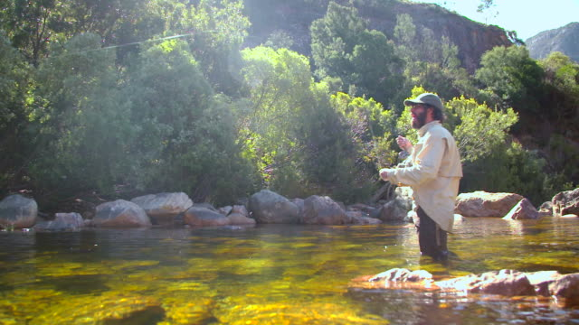 Man flyfishing in a river