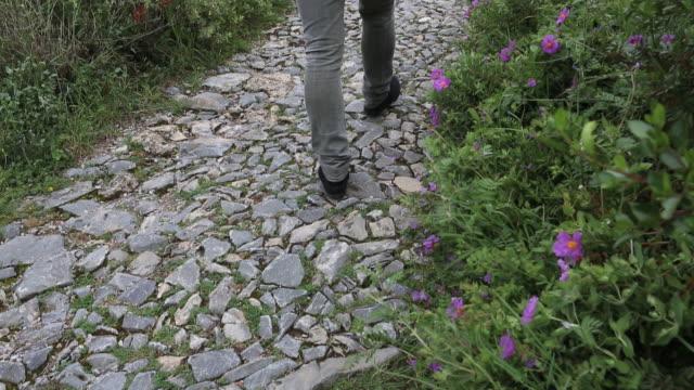 Man follows cobblestone track through green hills