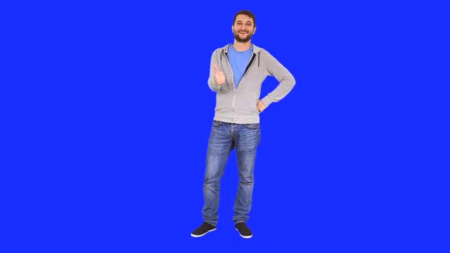Mann Gestikulieren Daumen hoch-Schild