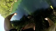 POV Man goes bungee jumping