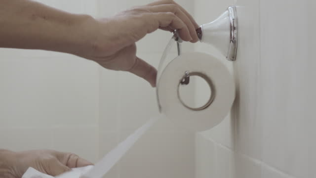 Man Grab Sanitary Paper With Two Hand 4k.