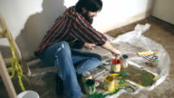 Man having fun with paint