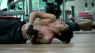 Man Heart Failure while Push-ups exercising in Fitness