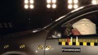 MS PAN SLO MO Man hitting airbag in smoking crash test car / Berlin, Germany