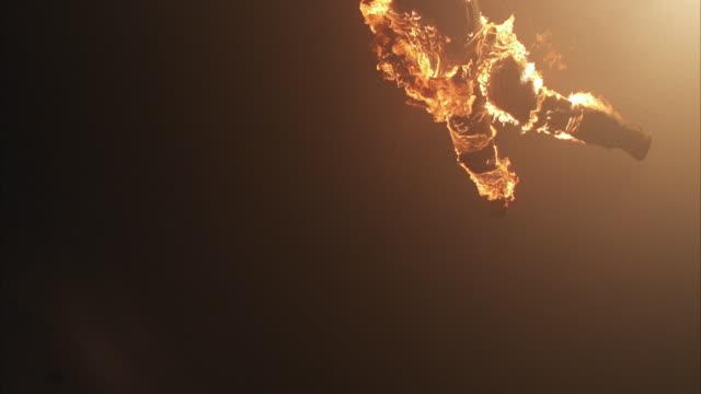 WS LA CU Man in flames falling down
