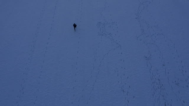 AERIAL Man Jogging Across The Snowy Field