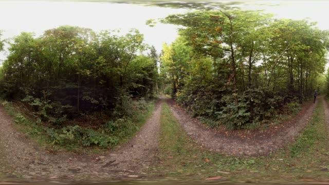 360 VR, man jogging along forest track