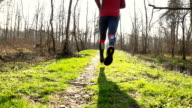 HD STEADY: Man Jogging In Nature