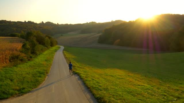 Veduta aerea di uomo Jogging In campagna