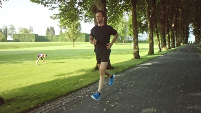 SLO MO TS Man jogging through a beautiful avenue in the park