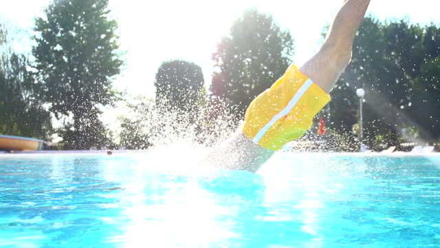 HD SUPER SLOW-MO: Man Jumping In The Pool